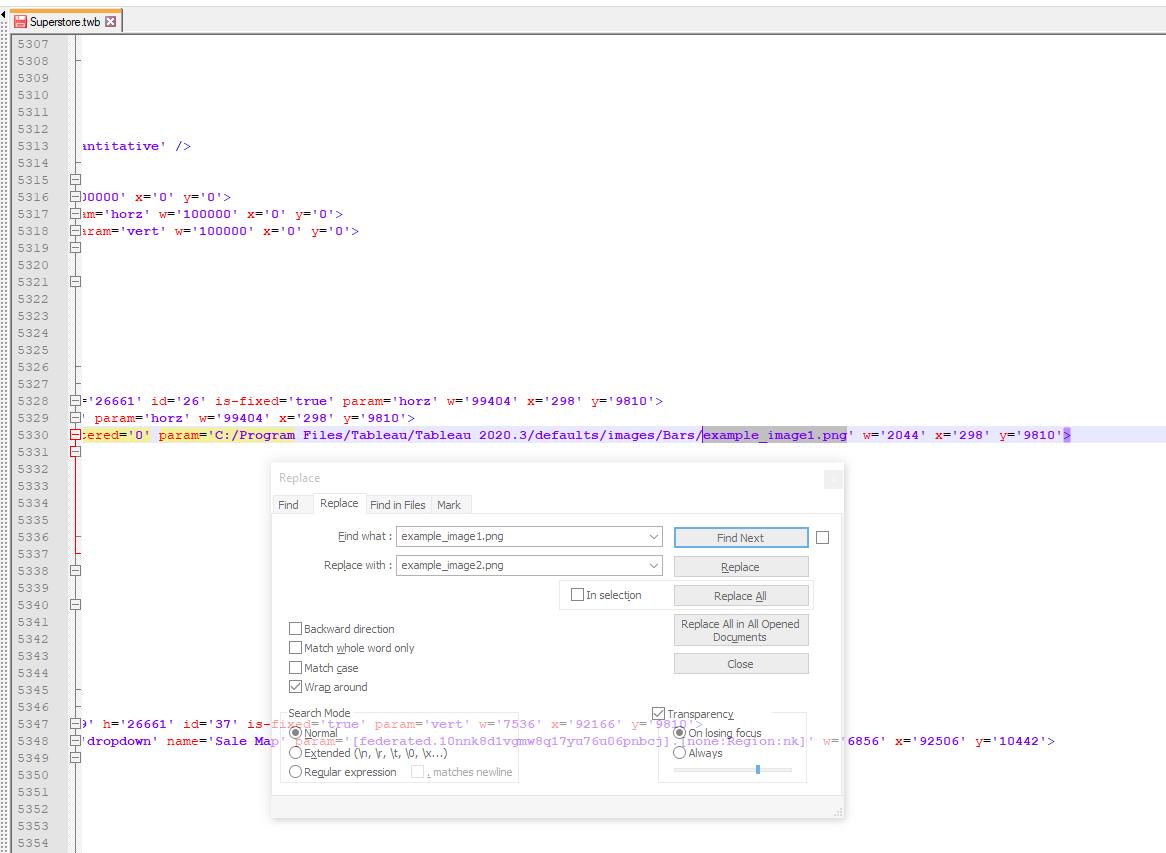 Tableau Workbooks über die XML editieren