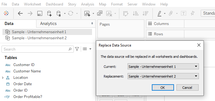 Datenquelle für Dein Dashboard ersetzen